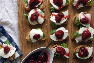 Strawberry, Basil & Mozzarella Bruschetta