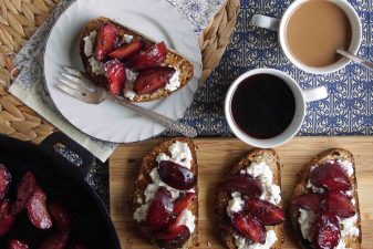 Roasted Plum & Ricotta Bruschetta