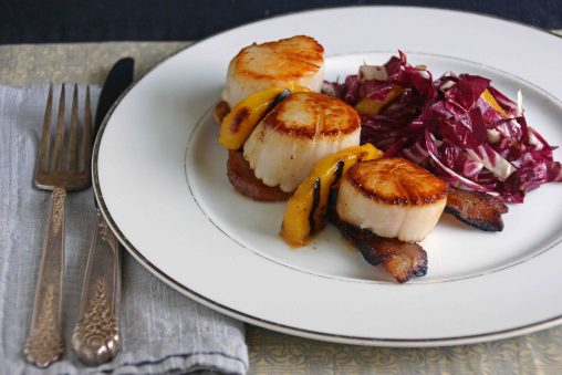 Sea Scallops with Bacon, Peaches & Radicchio Slaw