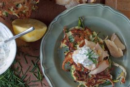 Zucchini Pancakes with Smoked Trout & Dill Yogurt