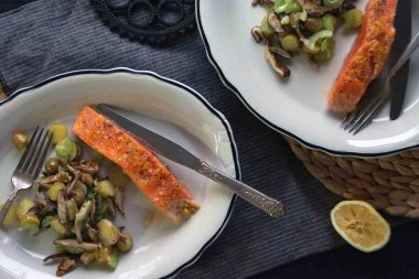 Baked Salmon with Potato, Mushroom, and Celery Salad