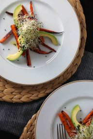 Cumin-Roasted Carrot Salad with Avocado & Sprouts