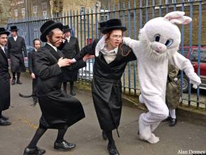 Hassidic dancing with the Easter Bunny