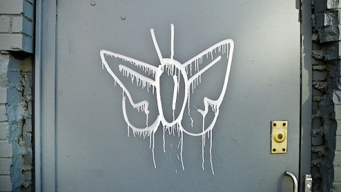 butterfly street art in the chelsea district of NYC