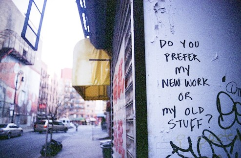 do you prefer my new work or my old stuff street art found in teh lower east side of NYC