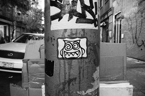 crazy eyes street art sticker found off the bowery in NYC