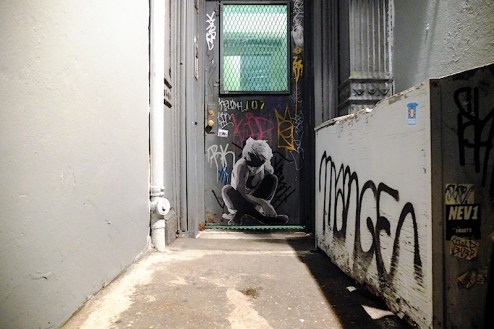 street art by hopeless in an alleyway in the lower east side of NYC