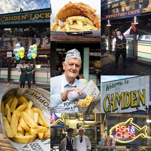 New opening poppie s fish and chips opens in camden for Pops fish market
