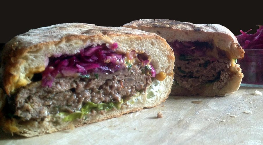 Street Food Recipe - Spiced Lamb Burger - Sourdough and Onion Roll