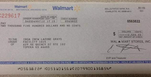Walmart Donation - 2015 (Supporting Youth Programs in Wyandotte County, Kansas City KS