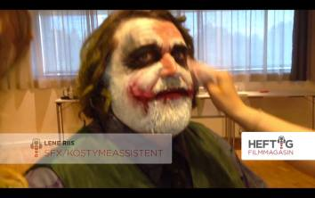 """Hank Von Hell, or Hans-Erik Dyvik Huseby get his face clean after """"joker"""" special effects makeup done by me and my helpers Inger Lise Moa and Lene Riiser, for """"Heftig"""" movie magazine"""