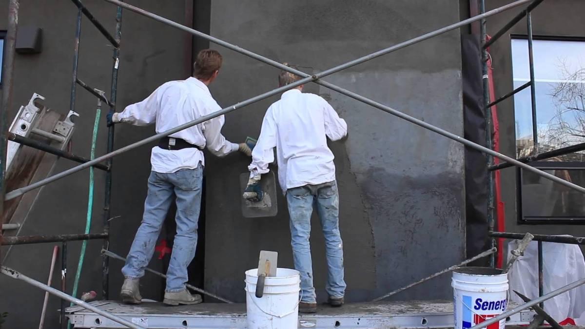 Stucco Over Cinder Block Chimney : Acrylic finish applied over failing cinder blocks