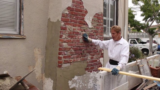 Sand and Cement Plastering & Rendering on a brick chimney