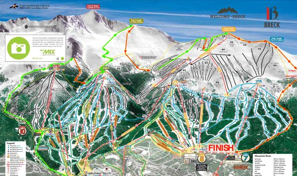 The route was modified a bit due to the weather, but the basic layout is here on the map. the climbs are green and the ski descents red, and the new section up and down Peak 6 isn't even on the map (off to the right).