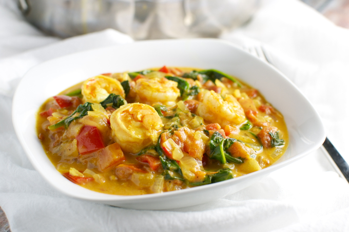 Coconut Shrimp Curry with Red Pepper and Spinach | stuckonsweet.com ...