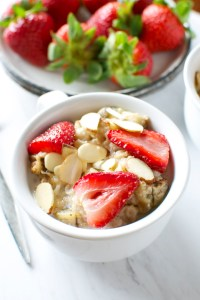 Roasted Strawberry Banana Oatmeal with Almonds