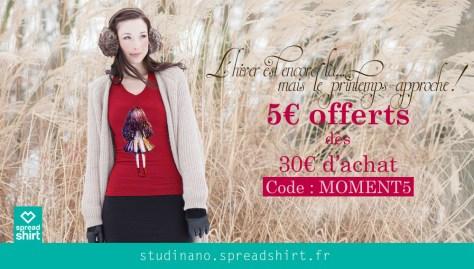 En ce moment, 5€ de réduction à partir de 30€ d'achat sur la boutique Spreadshirt de Studinano !