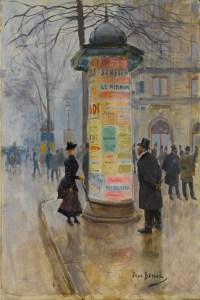 Jean-Beraud-rue-parisienne-colonne-morris-1885