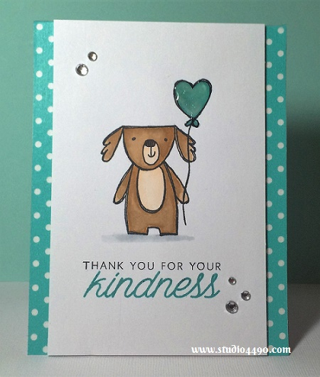 Thank you for your kindness Materials used: Stamps - Friendly Pets (CTMH), Acts of Kindness (Hero Arts); Copic Markers, Zig Clean Colour Real Brush Markers, Washi Tape (KaiserCraft), Glossy Accents (Ranger) and Rhinestones (KaiserCraft).