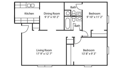 Medium Of 2 Bedroom Floor Plans