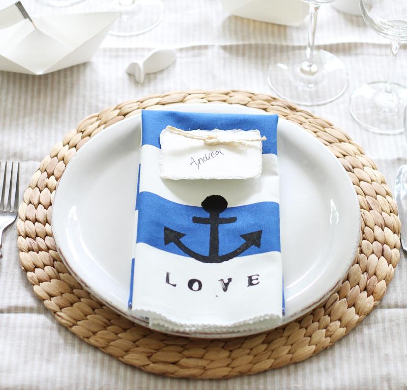 Dekoration Tisch Anker LOVE Platzkarten Papierschiff
