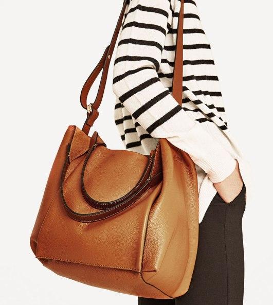 Zara Camel Leather Bucket Bag