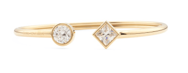 Michael Kors Park Avenue Crystal Open Bangle in Gold Tone