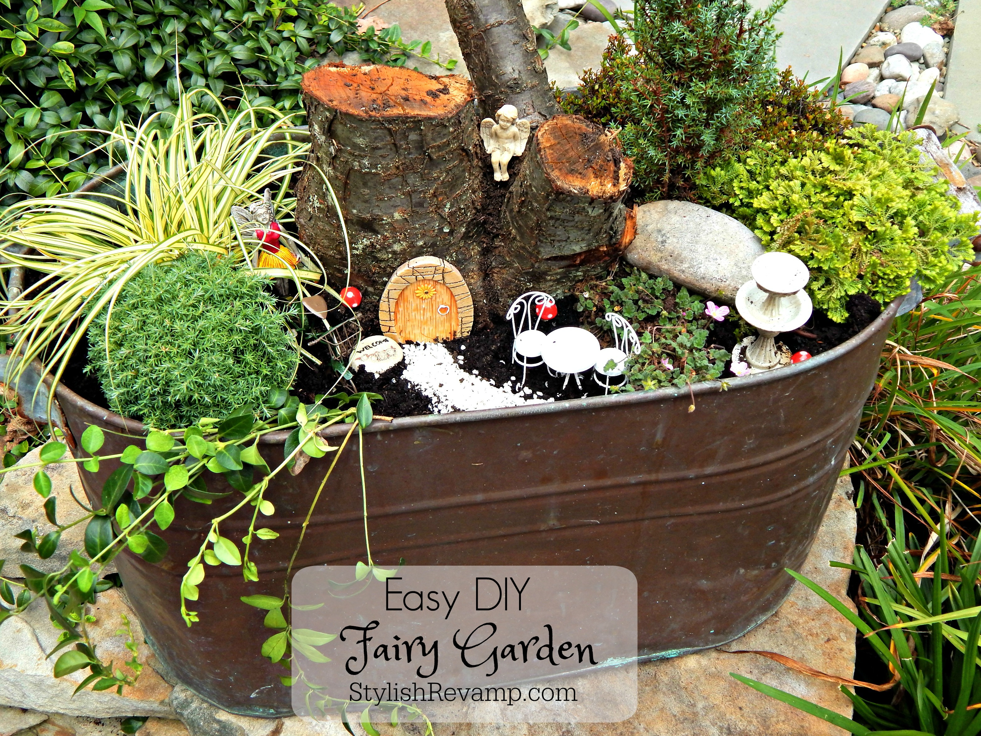 Encouraging Today We Are Sharing How To Make A Fairy Garden Using A Copper A Easy Diy Fairy Garden Revamp Diy Fairy Garden Pot Diy Fairy Garden House garden Diy Fairy Garden