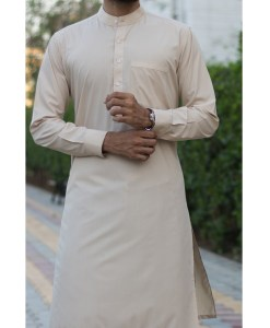 Shalwar Kameez Beige Wash n Wear Band Collar