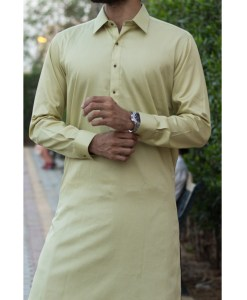 Shalwar Kameez Golden Cotton Shirt Collar
