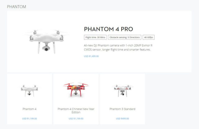 DJI Store Page for Phantom range