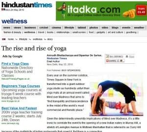 Subodh Gupta featured in Yoga article Hindusta times