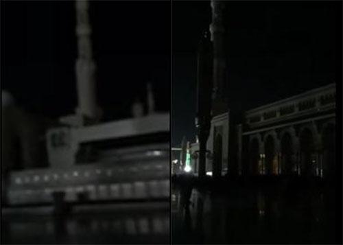 بالفيديو: إنقطاع الكهرباء عن المسجد النبوي