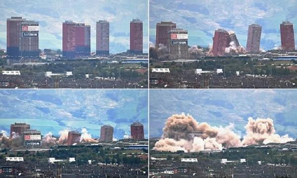 بالفيديو.. سقوط 6 أبراج سكنية في 7 ثوانٍ فقط