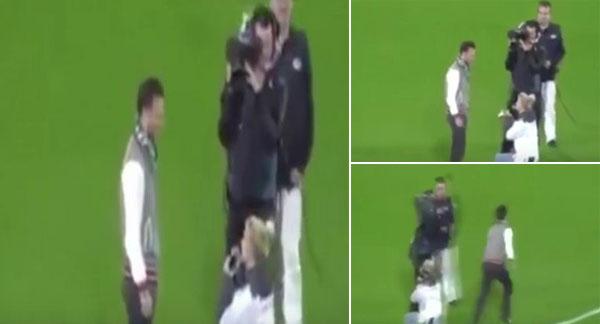 بالفيديو: فتاة تتقدم لشاب بالزواج في مبارة ريال مدريد ولكنه يفر هاربًا