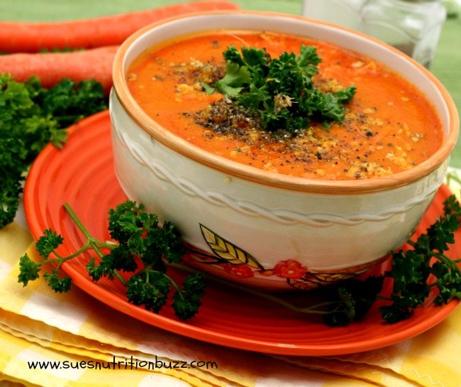 Roasted Carrot Soup. Carrot soup with ginger and winter squash