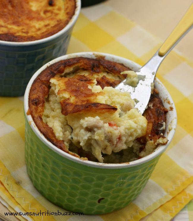 Light Chicken Pot Pies With A Cauliflower Crust #WeekdaySupper