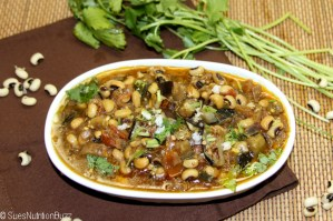Black Eyed Peas with Roasted Eggplant