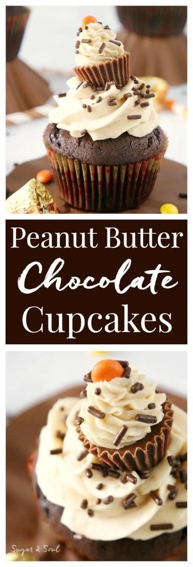 Peanut Butter Surprise Cupcakes - Moist dark chocolate cupcakes filled with a surprise and topped with silky peanut butter buttercream!