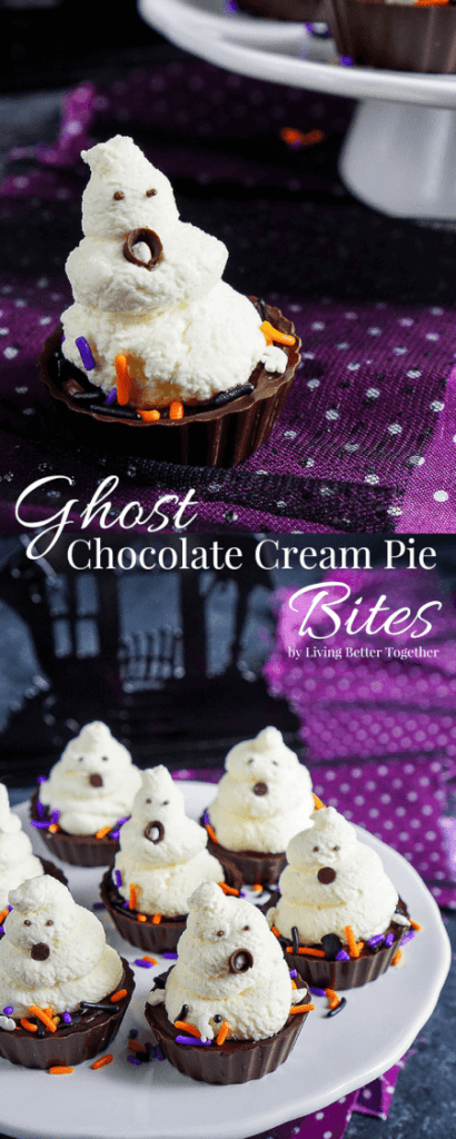 These Ghost Chocolate Cream Pie Bites are a fun and easy Halloween Dessert you can make in minutes!