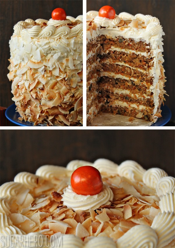 Carrot Cake with Coconut Cream Cheese Buttercream | SugarHero.com
