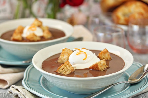 Chocolate Soup With Croissant Croutons and Whipped Creme Fraiche ...