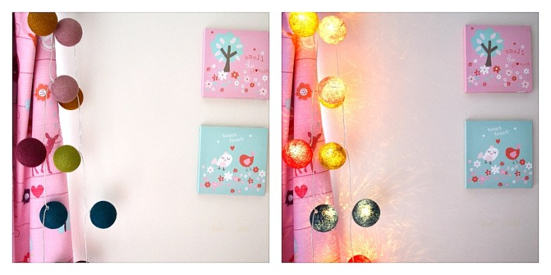 Cable & Cotton cinnamon fairy lights review on and off display