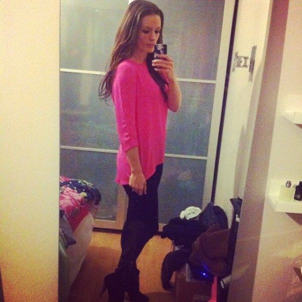 what i wore Primark Bright Pink Long Top Black Jeggings