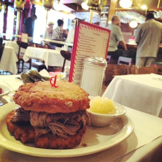 A brisket sandwich (on two potato pancakes) in Brooklyn.  I only ate maybe 1/3 of it, but still.