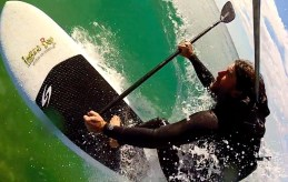 SUP surfing with a back mount