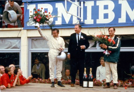 24 Hours of LeMans, LeMans, France, 1966. Bruce McLaren (L), HFII and Chris Amon (R) on the victory rostrum. CD#0554-3252-2890-12.