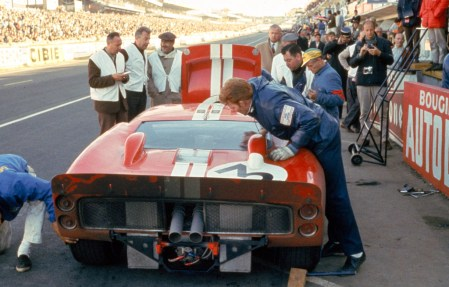 24 Hours of LeMans, LeMans, France, 1966. Dan Gurney/Jerry Grant Shelby American Ford Mark II in the pits. CD#0554-3252-2890-7.