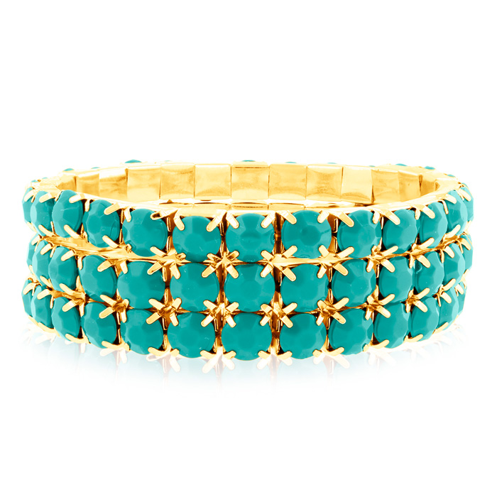 Set of Three Turquoise Crystal Bracelets in Gold Overlay