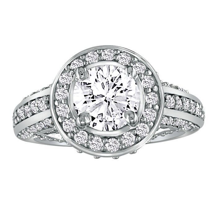 1 2/3ct Antique Style Round Center Diamond Engagement Ring in 14k WG